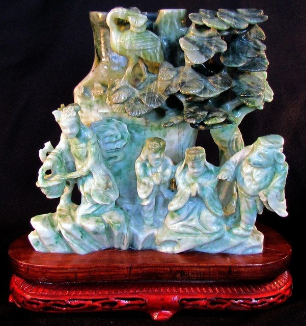 8: Large Chinese Green Jade Carving Figures