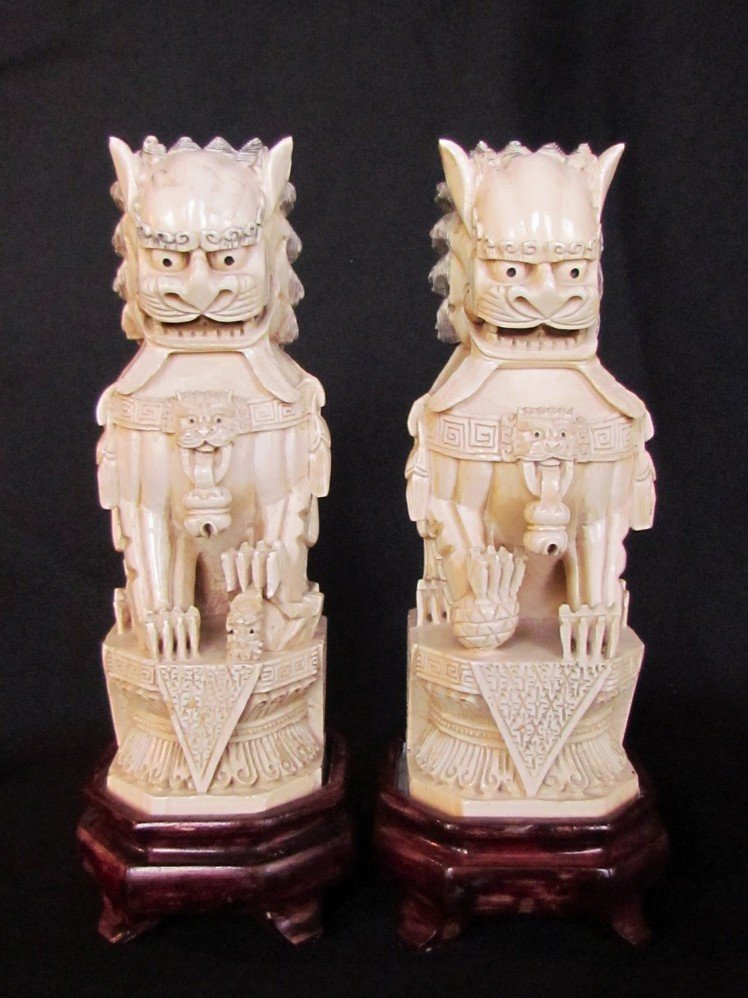 12: Two Large Chinese Ivory Foo Dogs 19th Century