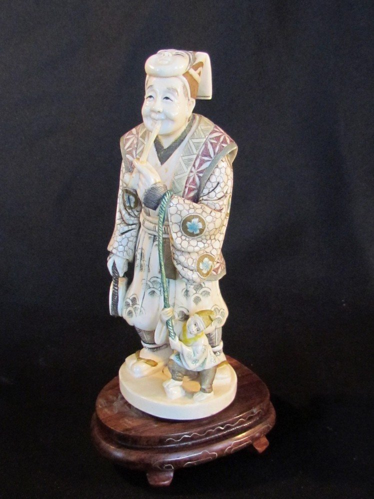 19: Large Oriental Ivory Polychrome Figure 19th Century