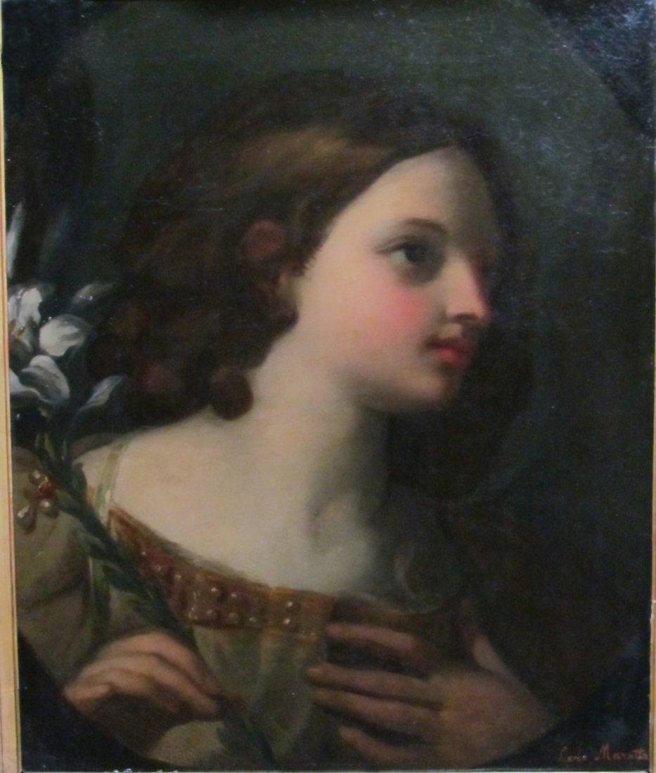Carlo Maratta (1625-1713) Portrait Oil on Canvas