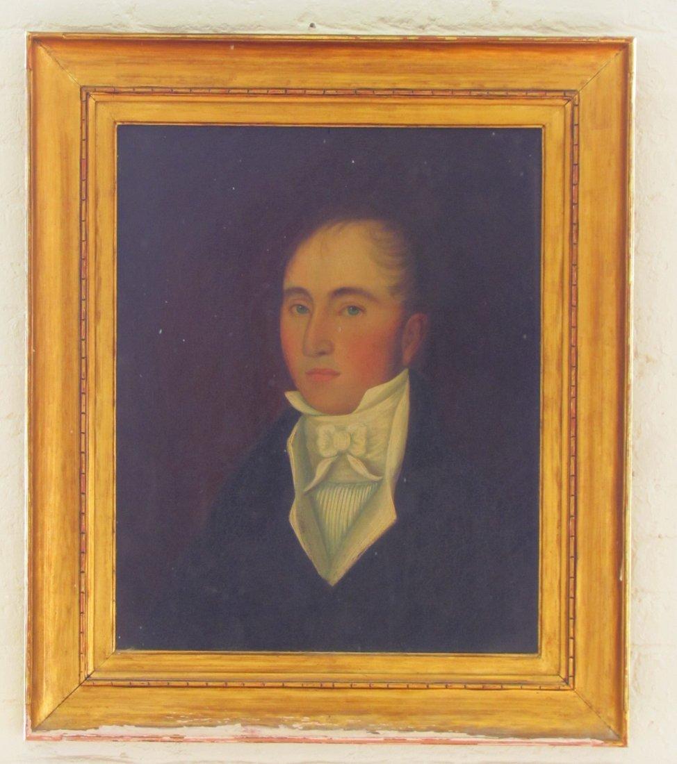 Early Boston Folk Art Portraits Oil on Board