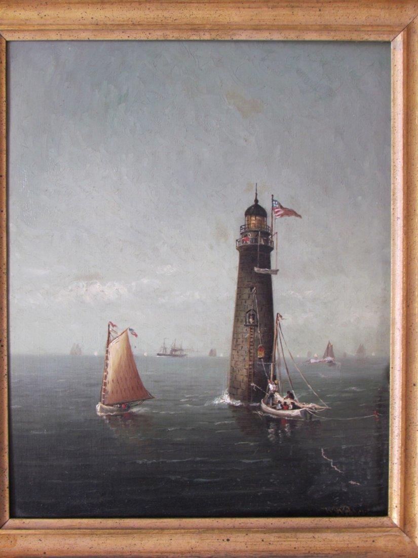 Wesley Elbridge Webber (1841 - 1914) Lighthouse Oil