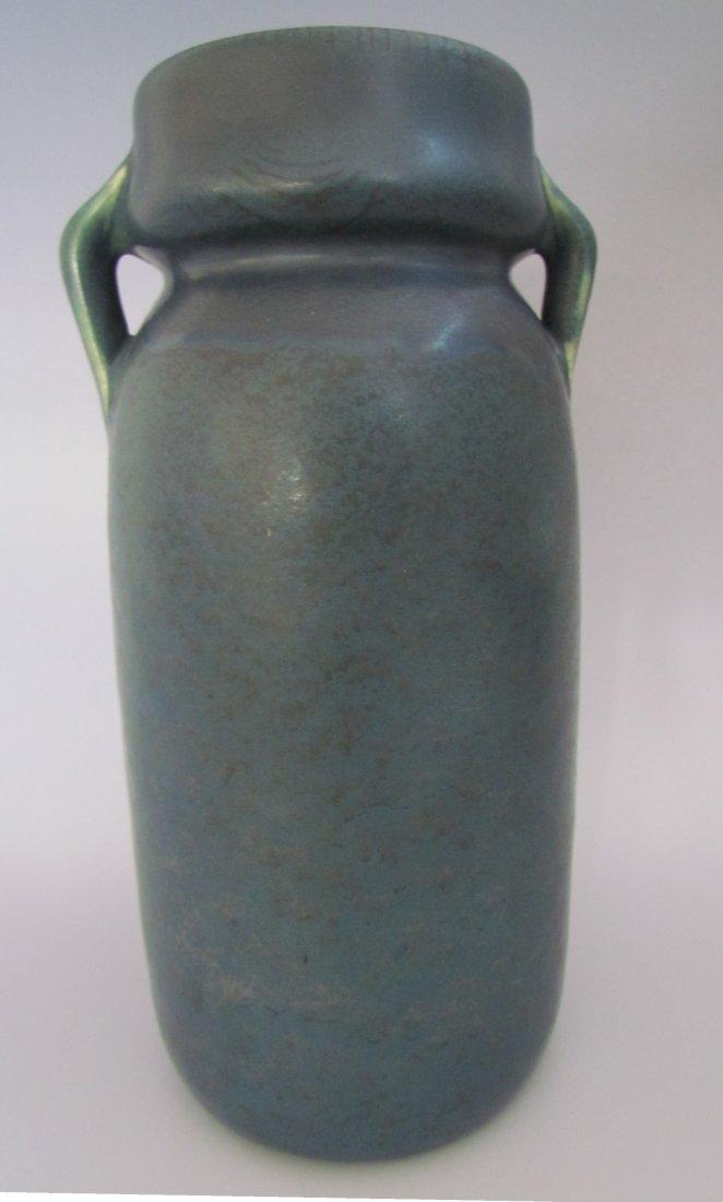 Hampshire Pottery Vase Matte Blue Handles
