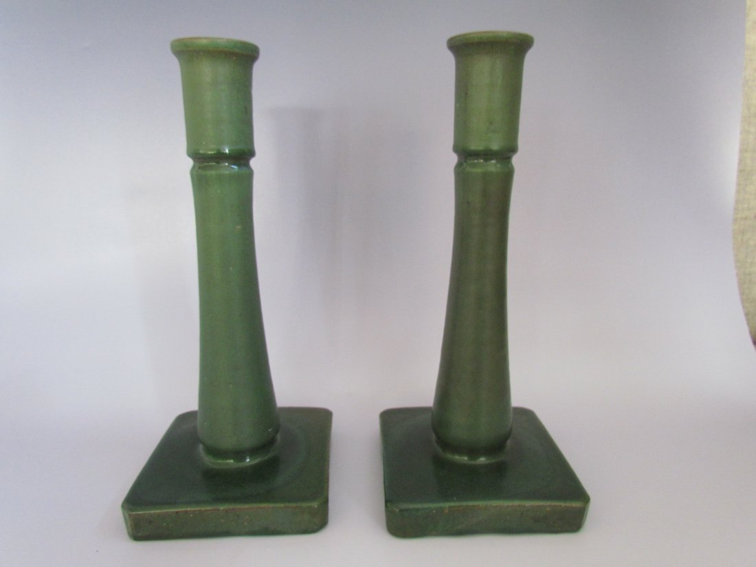 Pair Of Walley Pottery Candle Sticks Matte Green
