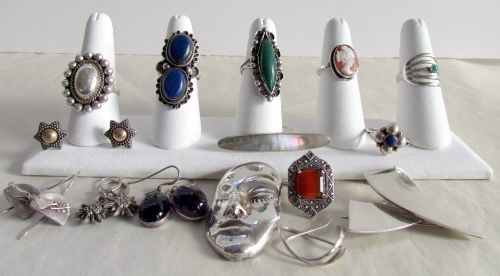 Sterling Silver  Lot With Studio Signed Pieces.