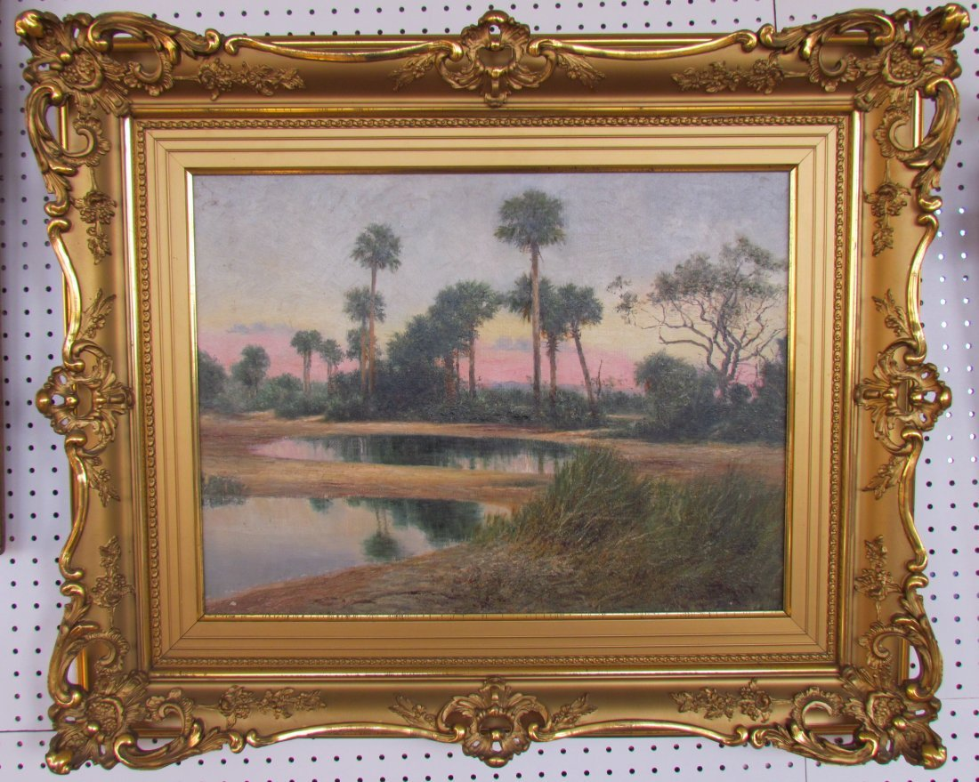 Florida Day Break Over Palm Trees Landscape in Oil Sign