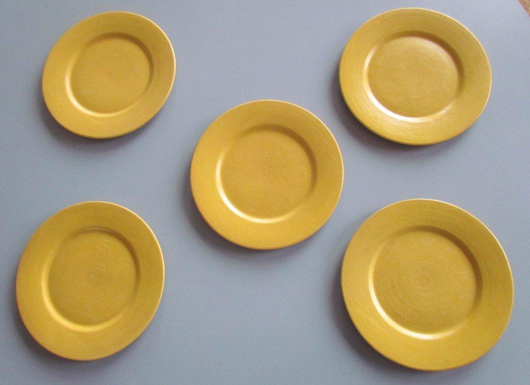 Five Yellow Saturday Evening Girls Plates
