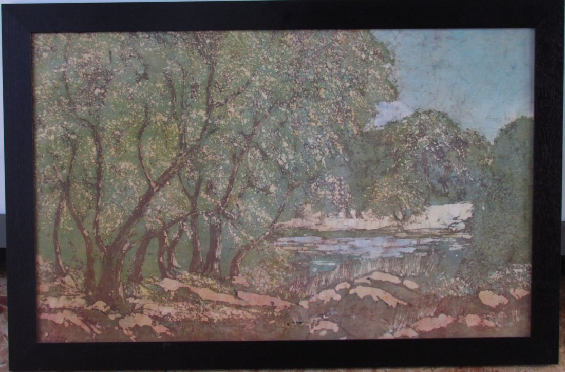 Arts and Crafts Period Print on Fabric in Oak Frame