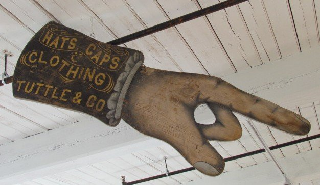 19th century Tuttle & Co. Folk Art Hand Sign