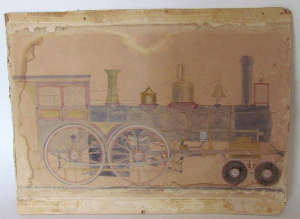 Folk Art Drawing of Train Dated 1859