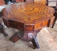 Large Folk Art Inlaid Table