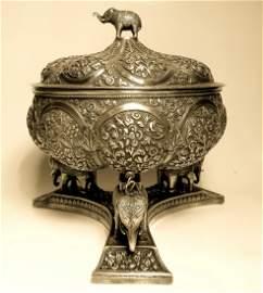 A fine c. 1890 Kutch Silver repoussé Covered