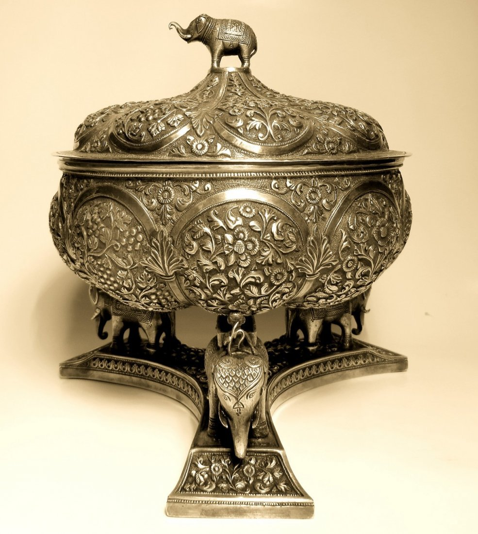 A fine c. 1890 Kutch Silver repoussé Covered