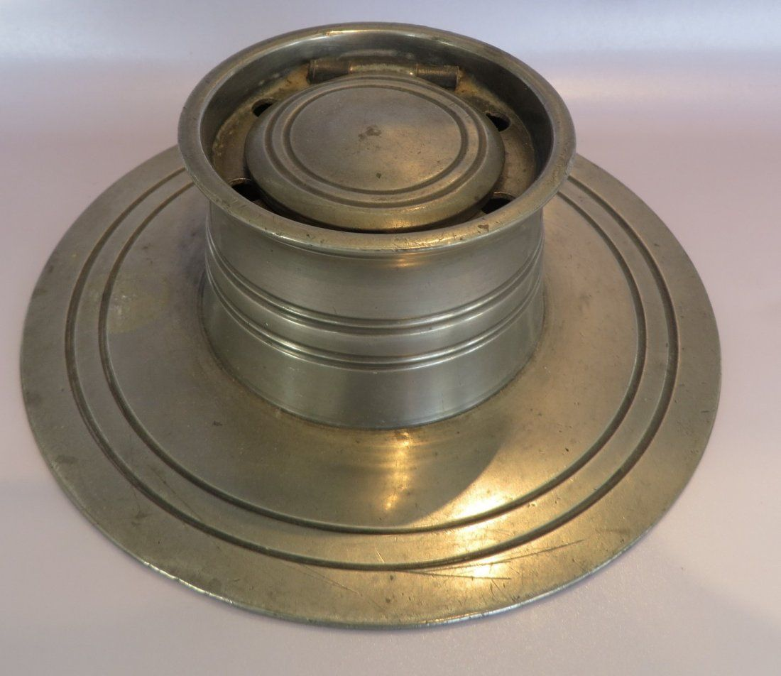 Antique Pewter Inkwell