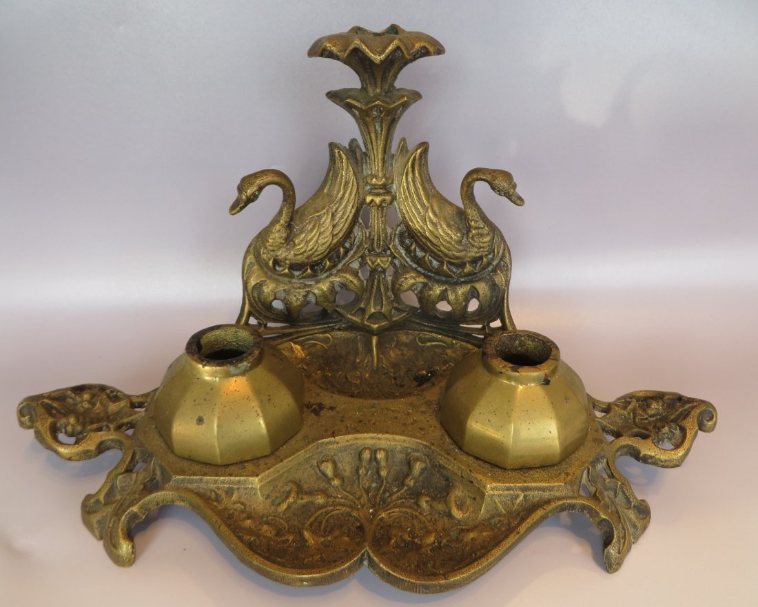 Victorian Brass Inkwell with Swans