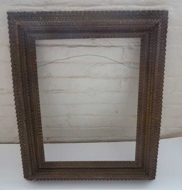 Large Folk Art Tramp Art Frame