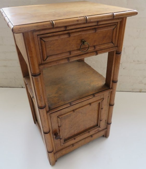 Signed R.J. Horner American Faux Bamboo Night Stand