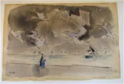 Lyonel Feininger (1871-1956) Dancing Sky Watercolor