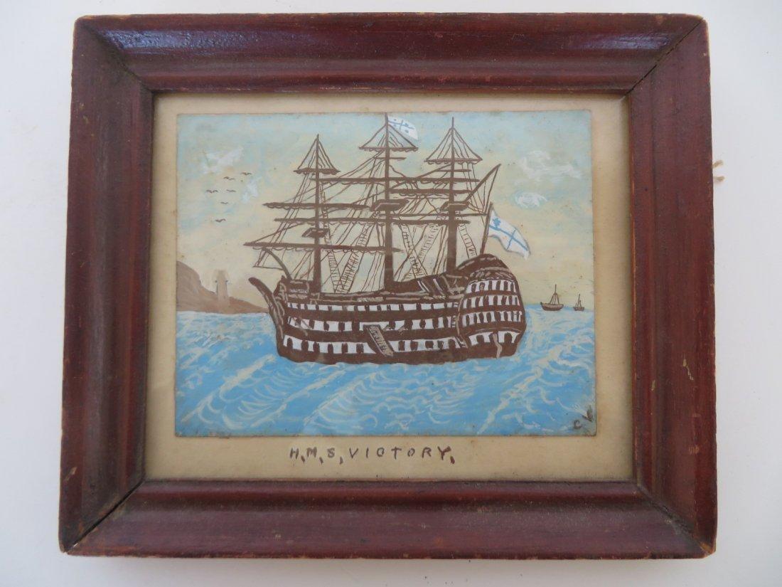 Folk Art Watercolor of H.M.S. Victory