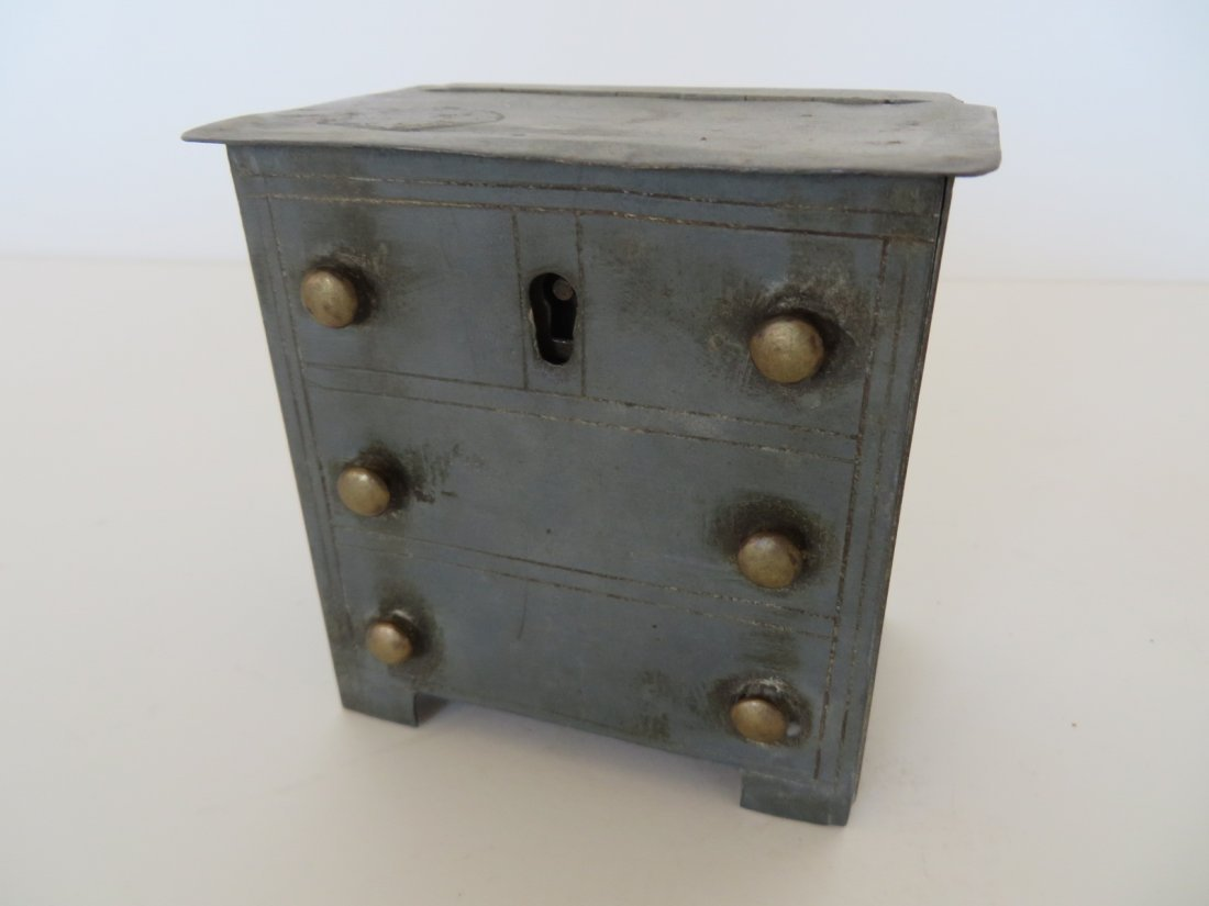 Folk Art Metal Bank of Chest of Drawers
