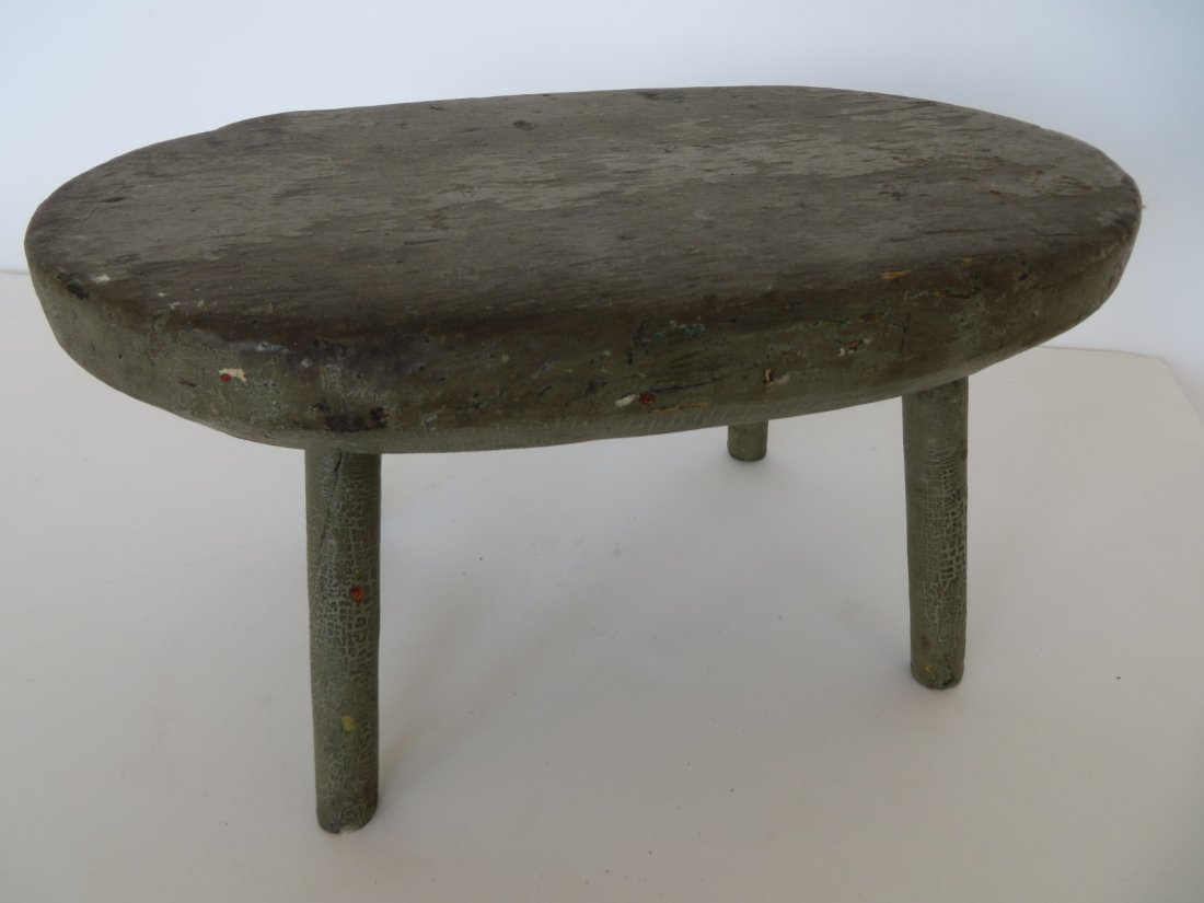Early Green Painted Milk Stool