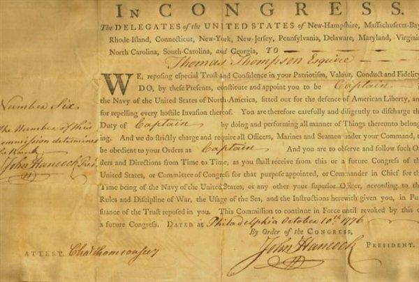 8: John Hancock Commission for Capt. Thomas Thompson