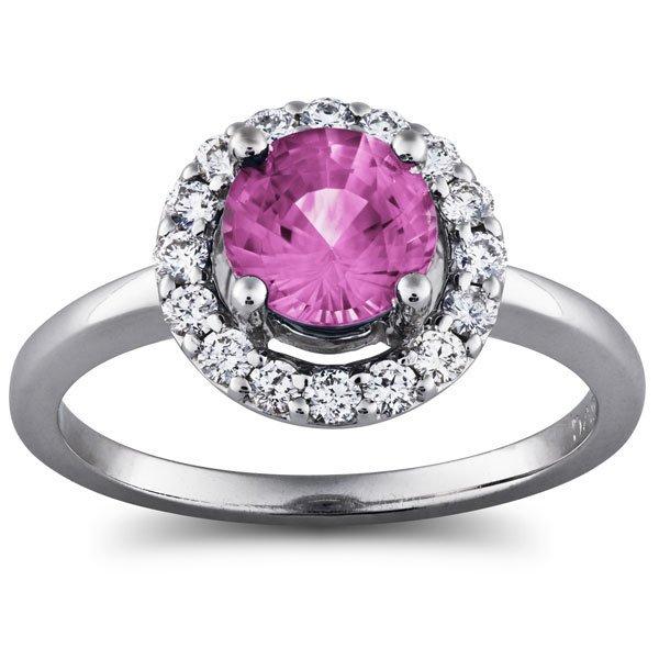 1 1/2  Carat Diamond and Pink Sapphite Prong set Halo
