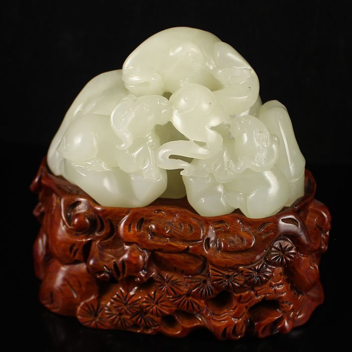 Superb Carved Chinese Hetian Jade Statue - Three Sheep