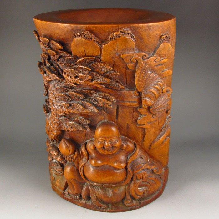 Chinese Natural Boxwood Brush Pot w Laughing Buddha