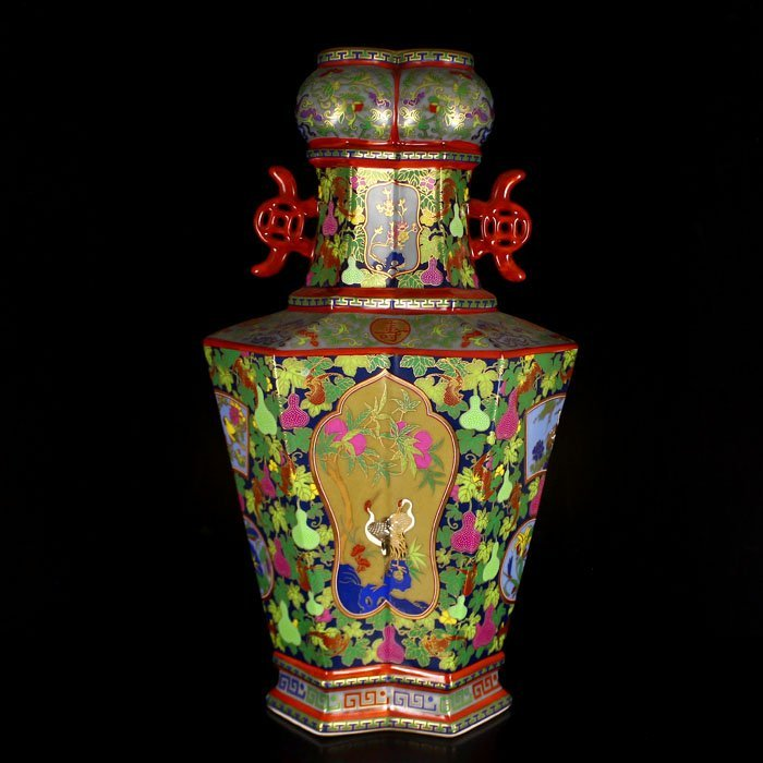 Beautiful Chinese Qing Dy Famille Rose Porcelain Vase
