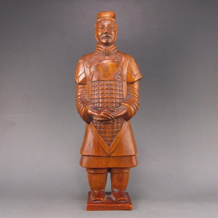 Chinese Boxwood Hard Wood Statue - Terracotta Army