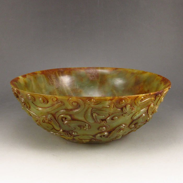 Vintage Chinese Hetian Jade Hundred Dragon Bowl