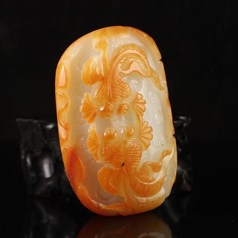 Chinese Hetian Jade Pendant w Goldfish