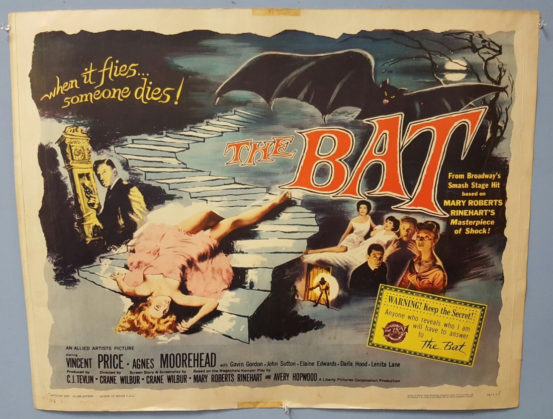"The Bat (1959) Half Sheet 22"" x 28"" Movie Poster"