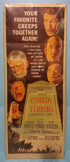 """The Comedy Of Horrors 1964 Insert Movie Poster 14"""" x 36"""