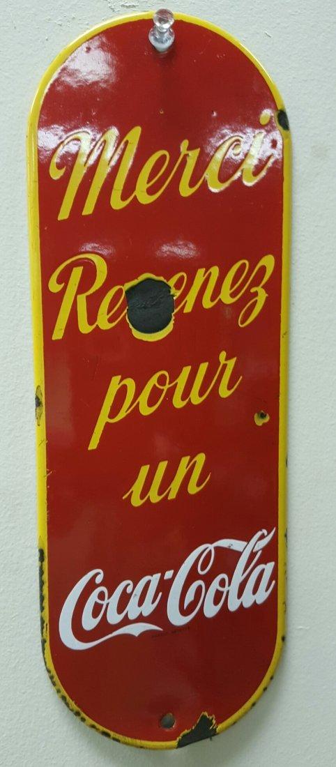 Vintage Porcelain Coca Cola Door Push (Canadian)