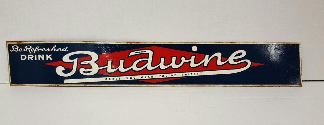 Tin Budwine Soda Pop Advertising Sign