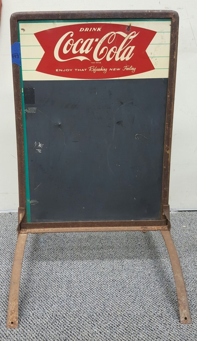 Coca Cola Fishtail Sidewalk Chalkboard Sign - 2