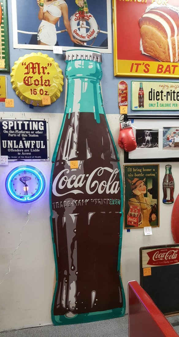 9ft Coca Cola Die Cut Bottling Co. Sign - 2