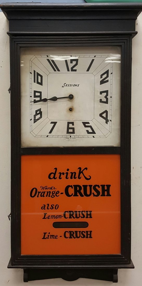 Antique Sessions Clock w/ Orange Crush Glass Front