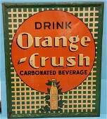 1938 Orange Crush Scarce  Embossed Tin Lattice Sign