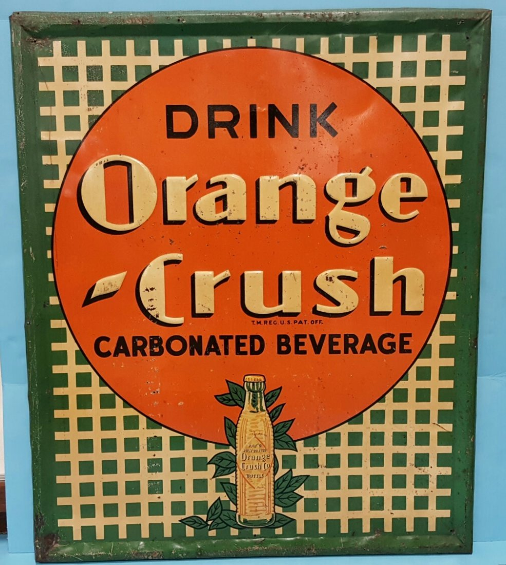 1938 Orange Crush Scarce  Embossed Tin Lattice Sign
