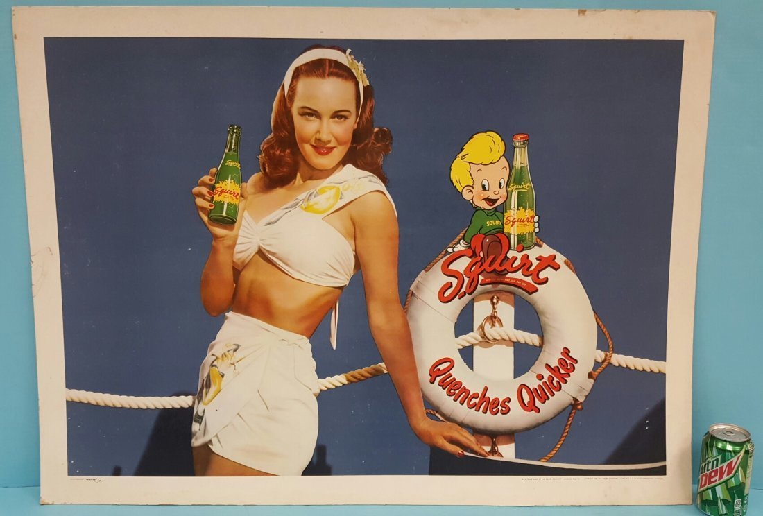 1947 Squirt Quenches Quicker Cardboard Sign