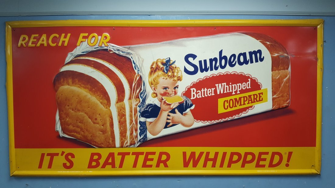 1966 NOS Embossed Sunbeam Bread Batter Whipped Sign