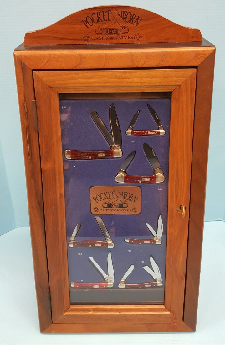 7 Pocket Worn XX Case Knives & Wood Display Case