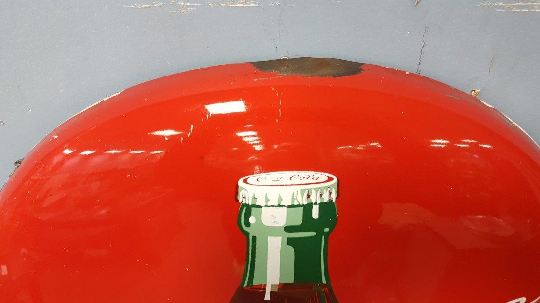 """24"""" Coca Cola Porcelain Button Sign w/ Bottle - 2"""