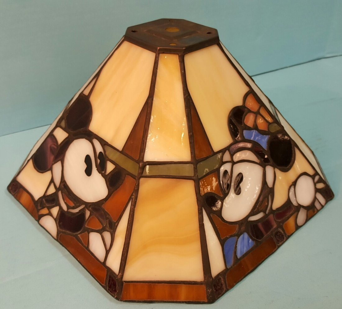 Stained Glass Lamp Shade Mickey, Minnie, Donald, Goofy