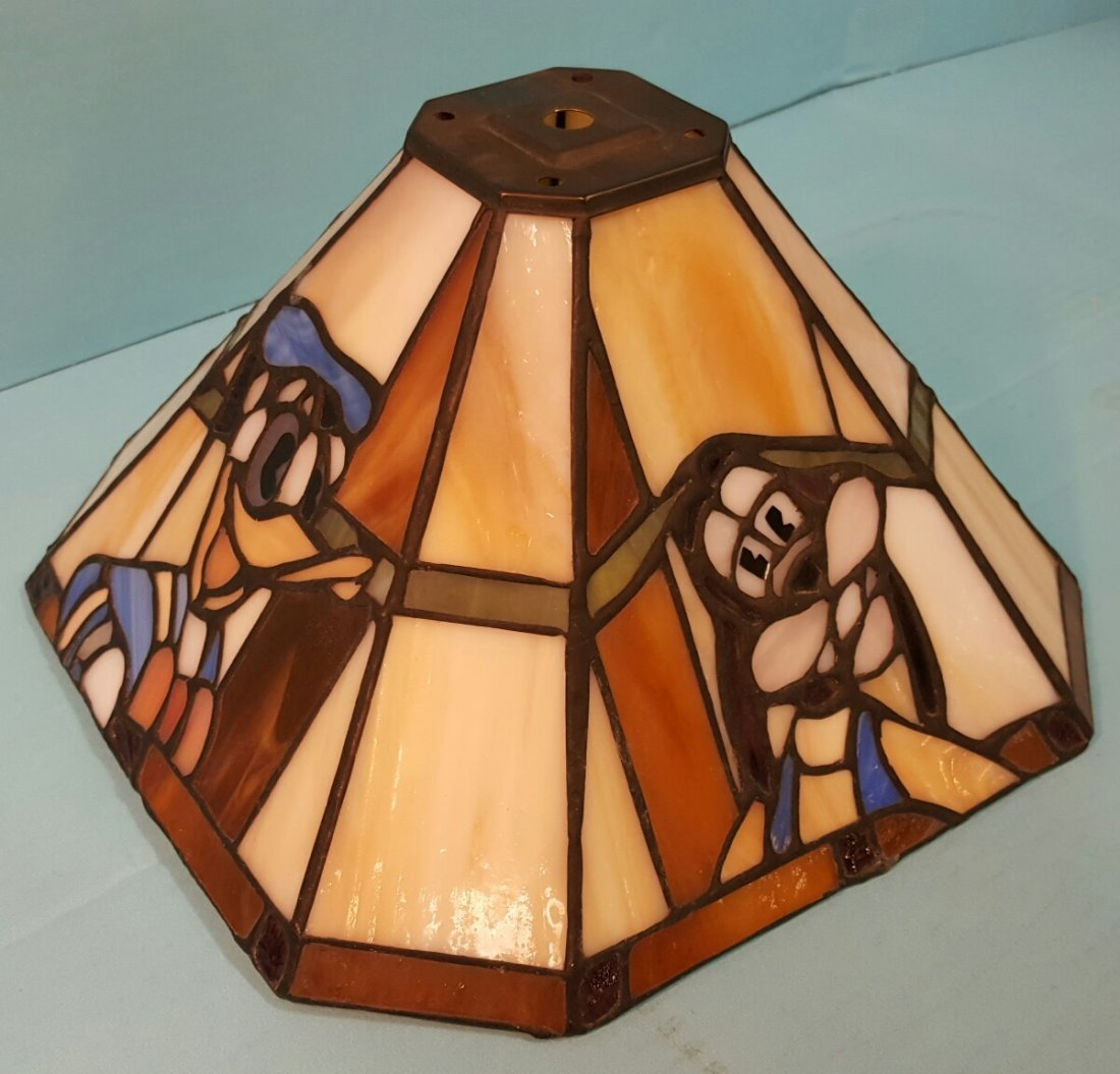 Stained Glass Lamp Shade Mickey, Minnie, Donald, Goofy - 2