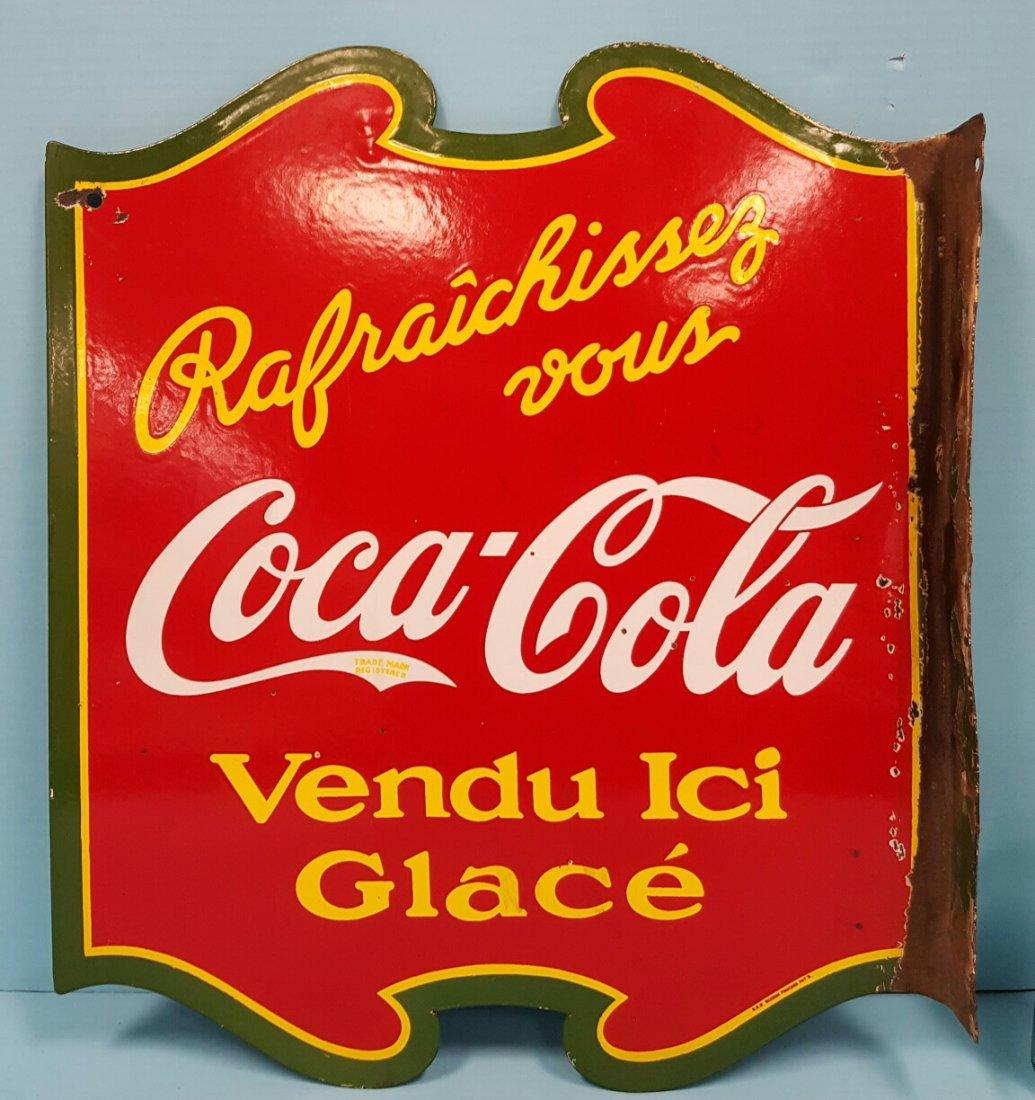 Porcelain Coca Cola Flange Sign Canadian