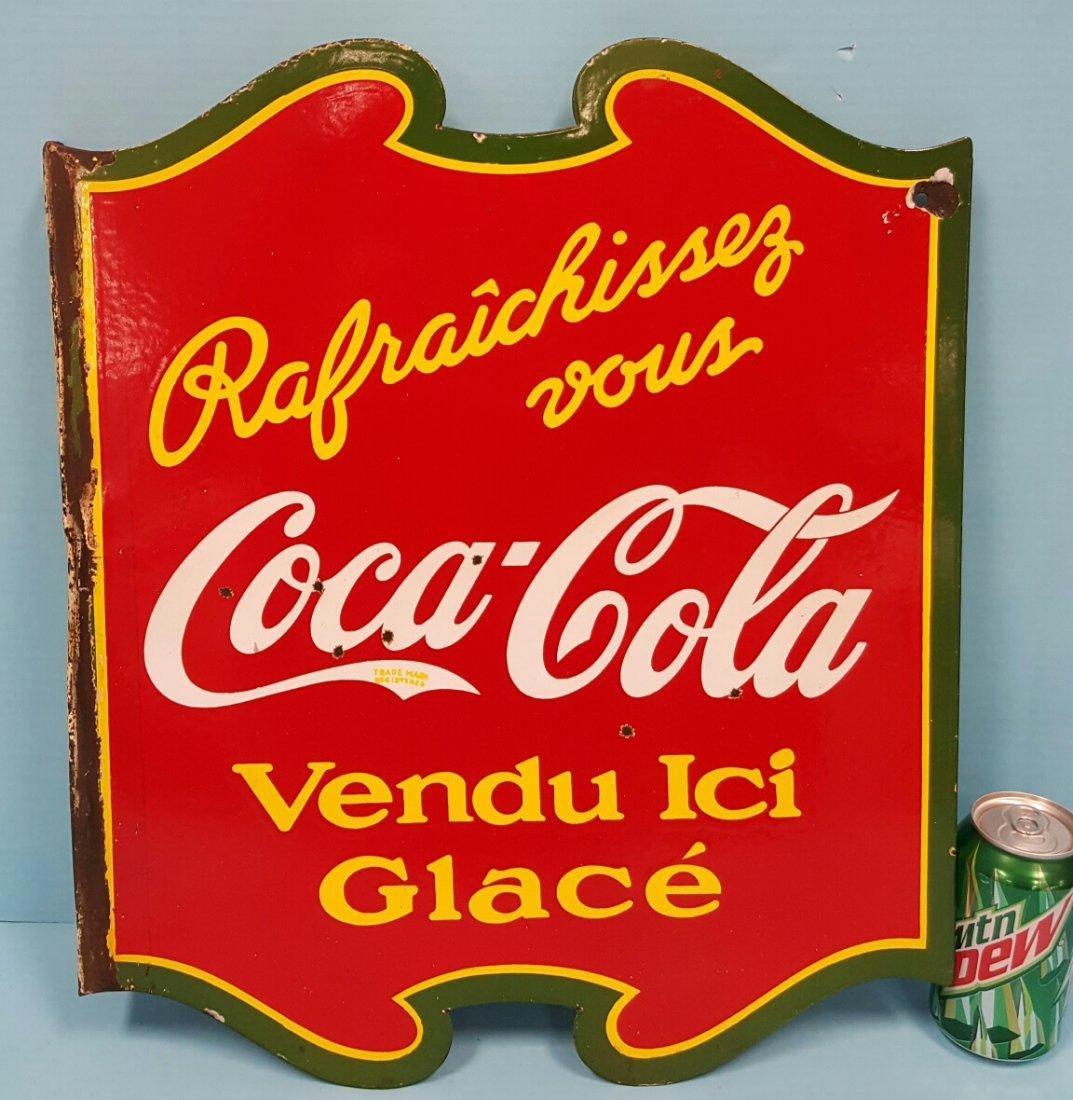 Porcelain Coca Cola Flange Sign Canadian - 2